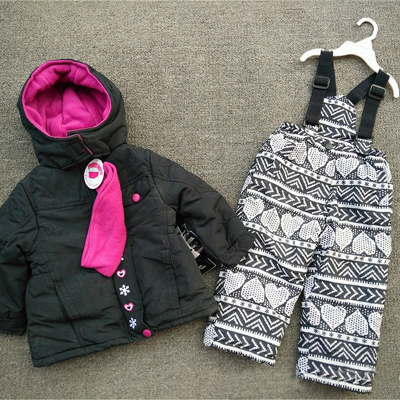 ФОТО Children 's ski suits girls outdoor cotton suits baby cotton + trousers trousers