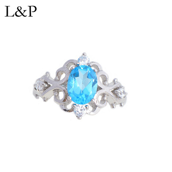 L&P Sea Blue Topaz Ring For Lady Authentic 925 Sterling Silver Adjustable Ring Inlay AAA Zircon Fine Jewelry Wedding Gift