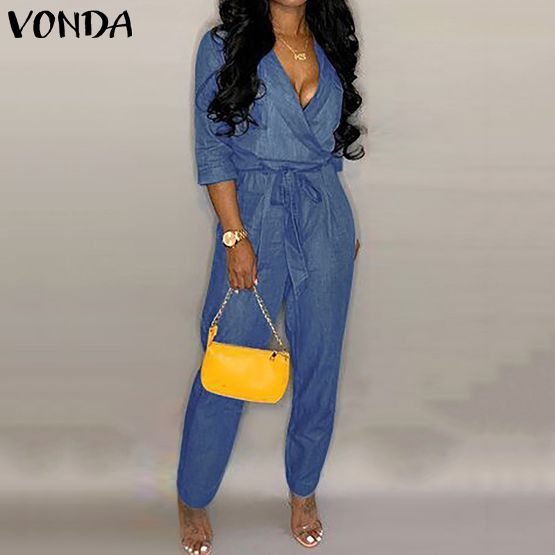 Fashion Summer Denim Jumpsuits VONDA Women Sexy Deep V Neck Rompers Casual Linen Overalls Femme Loose Playsuits Plus Size Pants 2