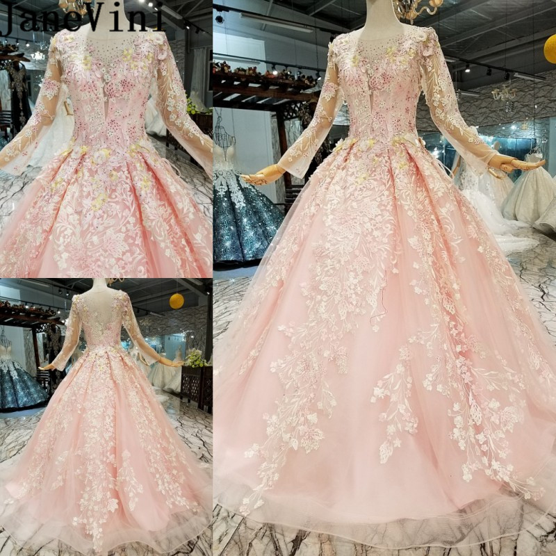 JaneVini Pink Elegant Long Sleeve Bride Wedding Party   Dress   Women Beaded Lace Appliques Long Formal   Dress   Tulle   Bridesmaid     Dress