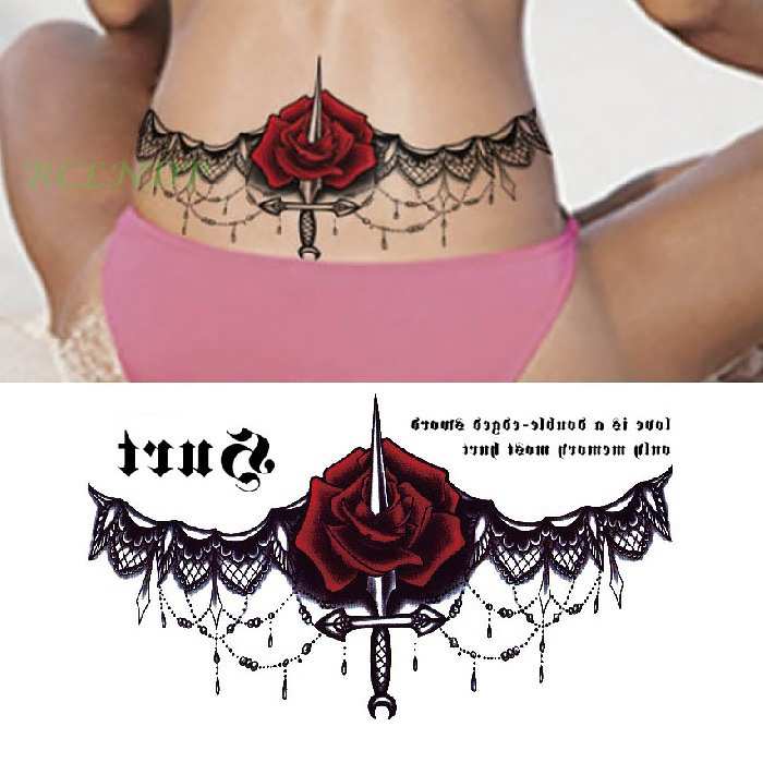 Temporary Tattoo Sticker Large Size Body Art Sketch Flower: Waterproof Temporary Tattoo Sticker Dagger Rose On Waist