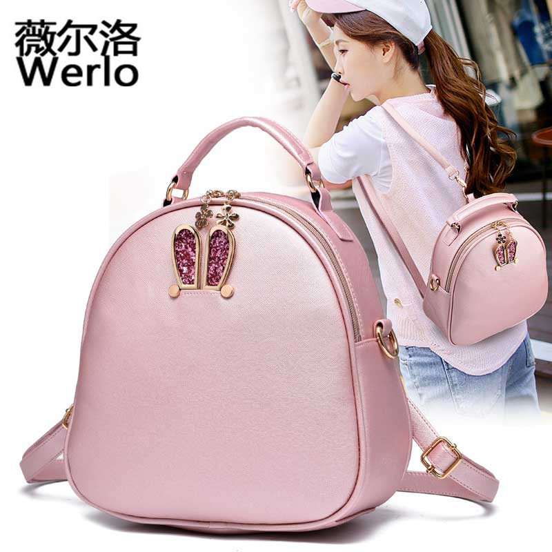 WERLO Brand 2017 New Designer Women Backpack Bags Fashion Ladies Shoulder Bags High Quality Leather Lovely