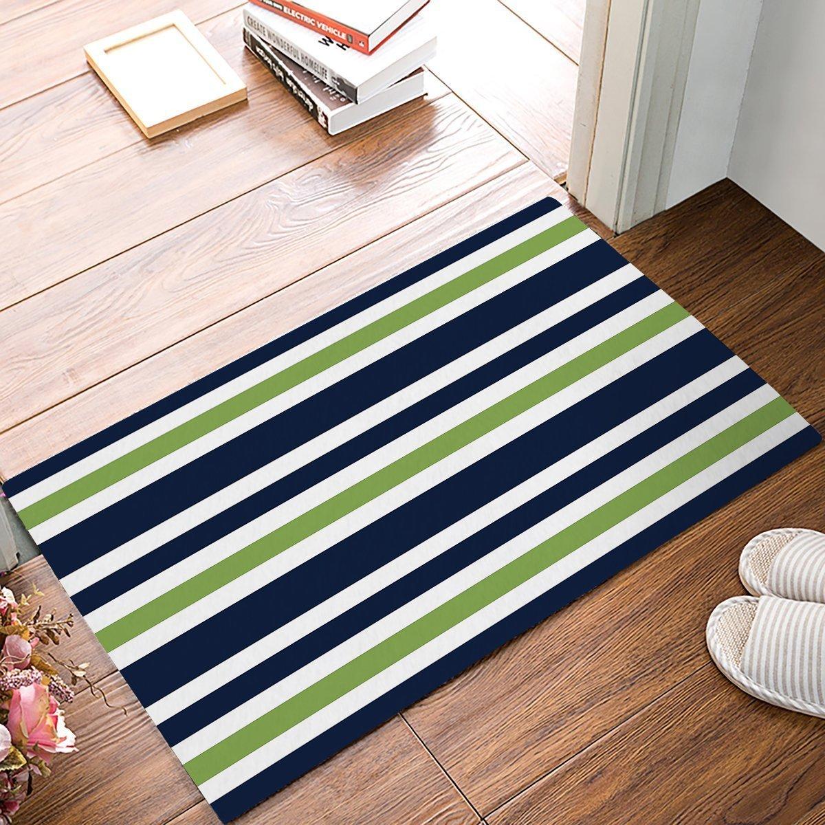Us 13 48 41 Off Stripes Fabric Door Mat Rug Floor Mats Front Doormats Non Slip Bedroom Carpet Home Kitchen Rug Navy Blue Green White In Mat From