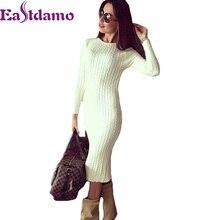 Eastdamo зимний свитер платье Для женщин плотный стрейч свитер вязаное платье Sexy Тонкий Bodycon платье эластичный тощий карандаш платье