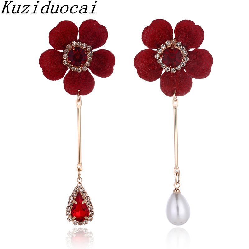 Kuziduocai 2018 New Fashion Fine Jewelry Copper Crystal Pearl Asymmetry Big Flowers Droplet Stud Earrings For Women Gifts E-1302