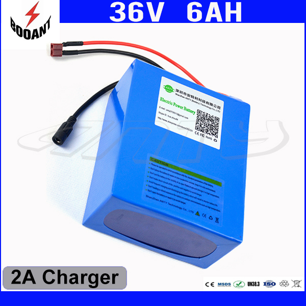 Electric Bicycle Battery 36V 6Ah 450W For Bafang Motor eBike Lithium Rechargeable Battery Pack 36V With 18650 Cell 2A Charger  12v 200ah rechargeable lithium battery pack for ebike storage energy or solar power and ups with 5a fast charger