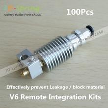 100 Unids V6 Integrated Remote Kit hotend boquilla Extrusora impresora Garganta M7 piezas de la impresora 3d prusa kossel CNC