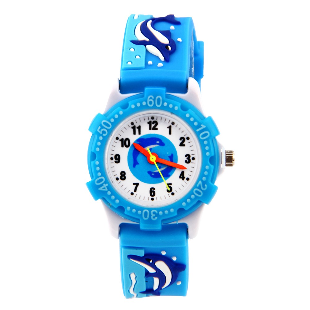 WHALE Shark silicone Strap  children Watch 3D CARTOON Watch Waterproof plastic shell