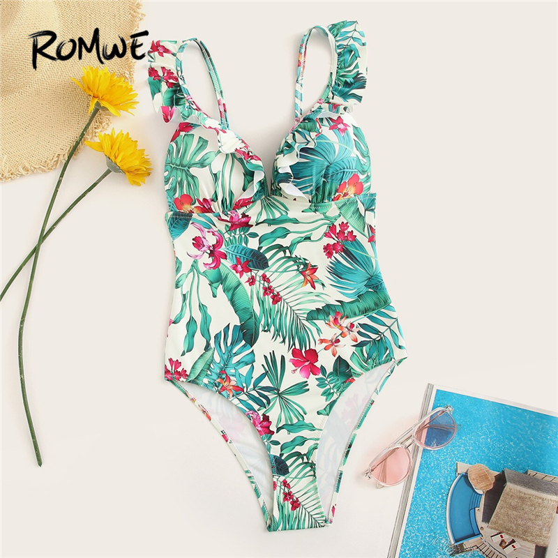 Romwe One-Piece Swimsuit Bikinis-Set Monokini Vacation Tropical Floral Women Push-Up
