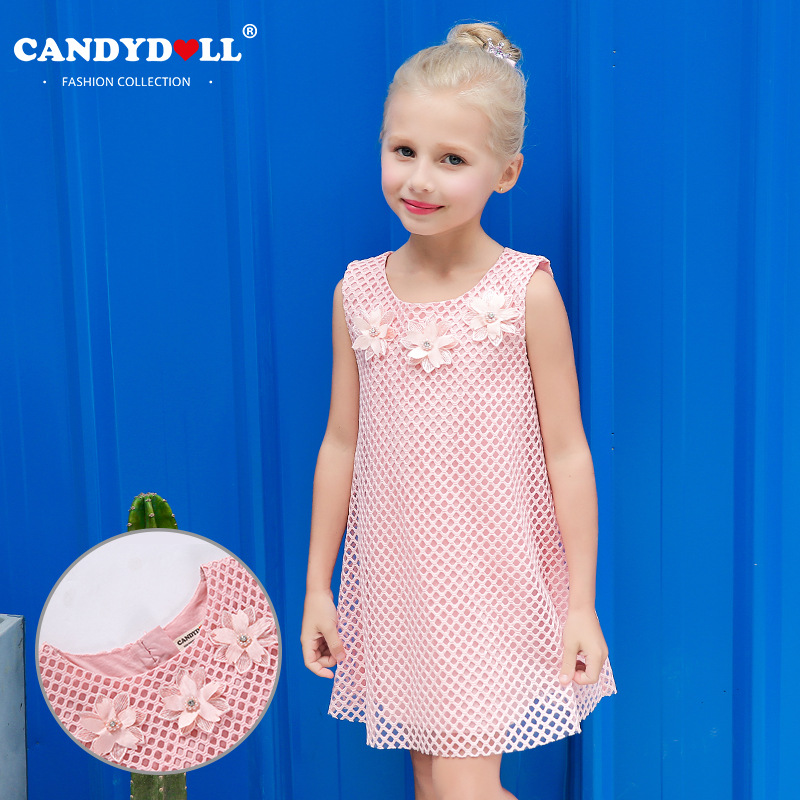 2017 summer new children's clothing Europe and the United States big wind girl dress net yarn children's dress 2017 children summer wear girl s printing in europe and the united states foreign trade dress sleeveless flower princess dress