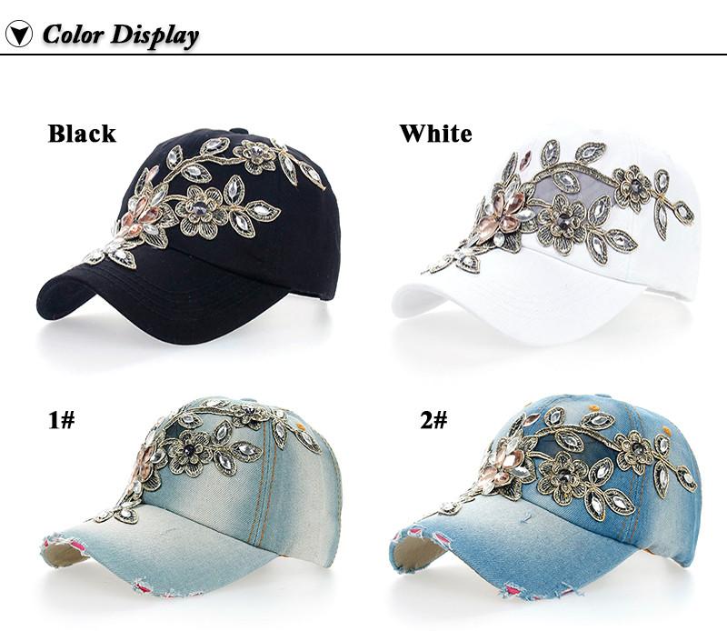 Rhinestone & Crystal Studded Baseball Cap - Black Cap,White Cap and Various Denim Colors Side Angle Views