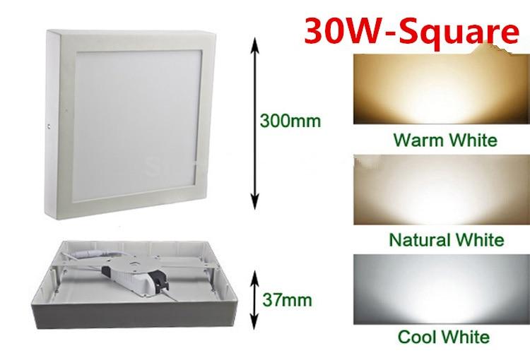 Nový design 20 ks / lot 30W led panelové světlo SMD2835 vysoce jasnější povrchově namontované bílé čtvercové / kulaté stropní svítidlo
