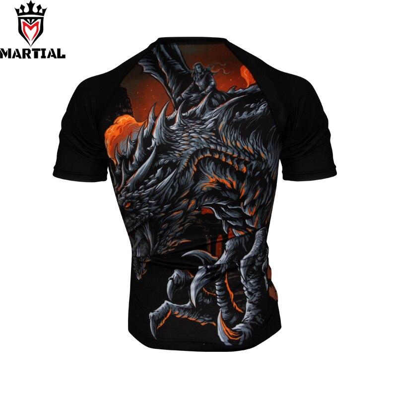 Martial:NEW ORIGINAL DESIGN Fire And Blood Mma Rashguards Shirt Man Gym Compression Grappling Shirts