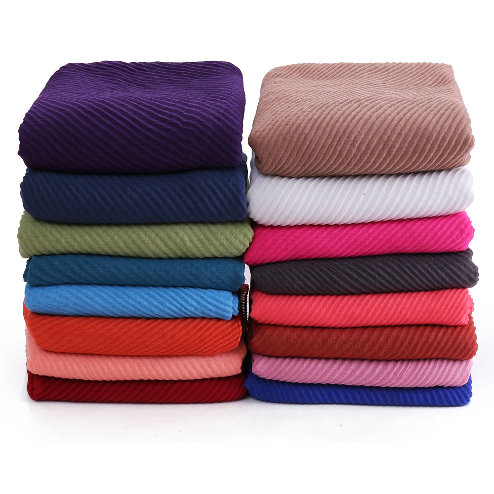 10pcs/lot Women's Pleated Crinkle Hijab Scarf Muslim Head Wrap Shawl Large Size 180*90cm