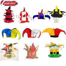 dee8377a5 1 Peças Multicolor Chapéu Bobo Da Corte Palhaço Palhaços de Circo com Sinos  Acessórios Do Traje