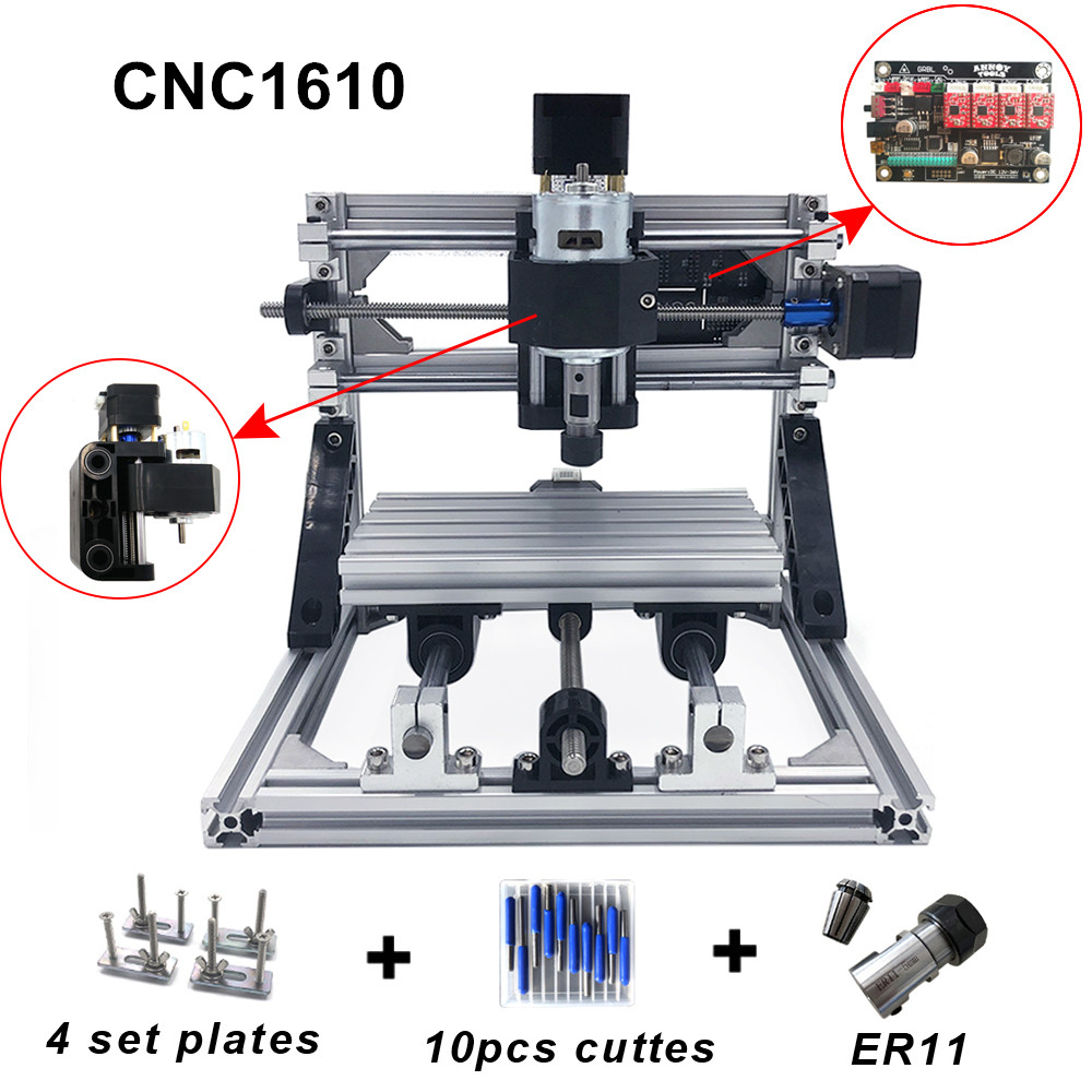 CNC 1610 with ER11 diy cnc engraving machine mini Pcb Milling Machine Wood Carving machine cnc router cnc1610 best Advanced toys in Wood Routers from Tools