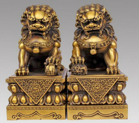 Copper Brass CHINESE crafts decoration Asian Large Pair Bronze Chinese Lion Foo Dog Statue Figure Sculpture Black 10H vases