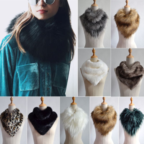 Women Girl Thicken Imitation Mink Fur Collar Scarf Collar Neck Warmer Shawl Wrap with