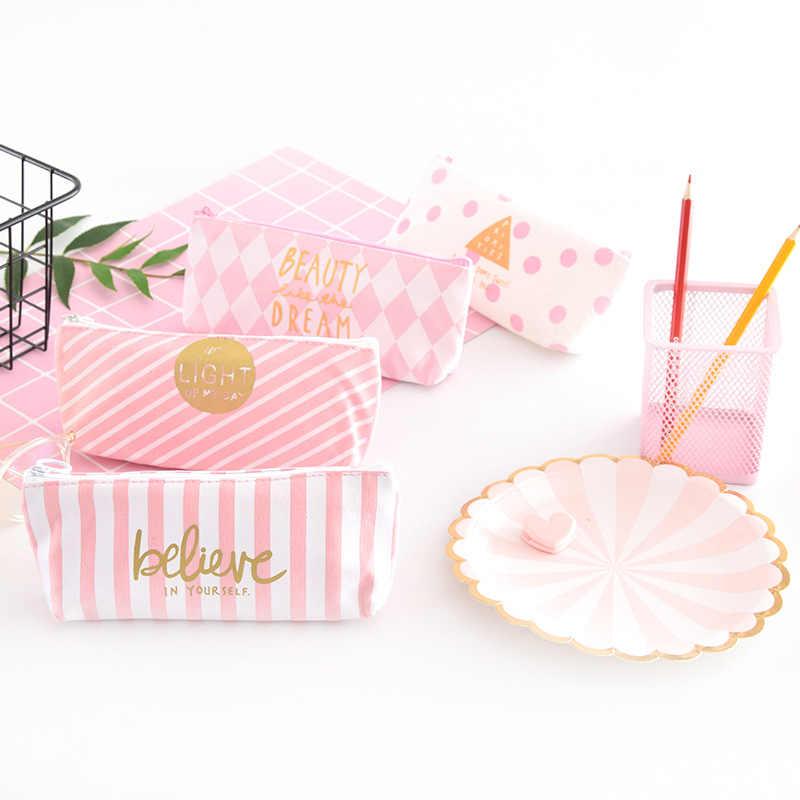 1 قطعة/بيع Kawaii مقلمة قماش لطيف الوردي النمر نمط مدرسة اللوازم المكتبية القرطاسية طالب هدية الكريسماس