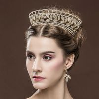 do dower2017 High Quality Europe Bride Wedding Crown18KGold Crystal Large Queen Crown Wedding Hair Accessories for Women HG-G016