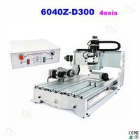 CNC engraving machine 6040 Z D300 4axis 3D cnc router cnc wood carver with rotary axis, can do 3D