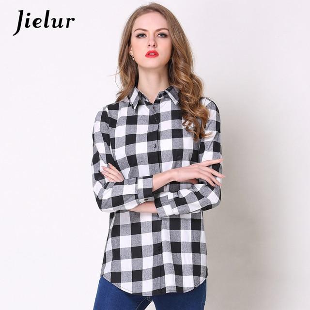6812798763e Jielur Single-breasted Plaid Shirt Female Spring Long Sleeve Blouse Work  Wear Simple Korean Office