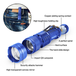 Image 3 - High quality Mini LED Flashlight Q5 2000LM Powerful Flashlight LED Laterna 3Modes Zoomable Portable 6Colors Torch