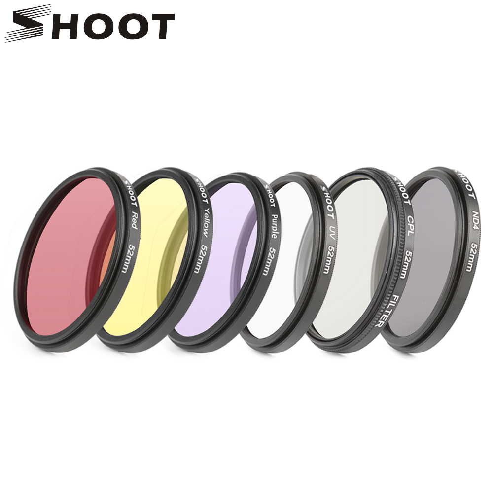 SHOOT 52mm/58mm CPL ND UV Filter Set For GoPro Hero 7 6 5 Black 4 3+ Silver Action Camera Waterproof Case For Go Pro Accessories shoot aluminum alloy protective case with uv filter mount for gopro hero 6 action camera housing shell go pro hero 6 accessories
