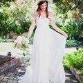 2017 Romantic Off Shoulder Lace Chiffon Long Beach Wedding Dresses Cheap Bohemian Bride Dress robe de mariage vestidos de noiva