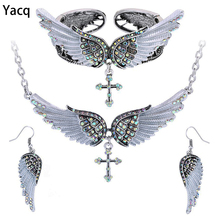 Ship From US Yacq Angel Wing Cross Necklace Earrings Bracelet Set Women Biker Jewelry Birthday Gifts Her Mom Wife Girlfriend Dropshipping