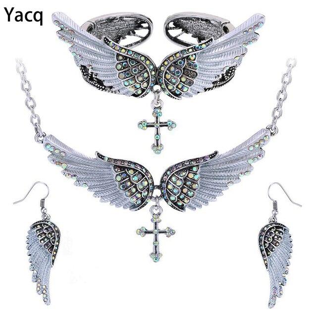 Yacq Angel Wing Cross Necklace Earrings Bracelet Set Women Biker Jewelry Birthday Gifts Her Mom Wife