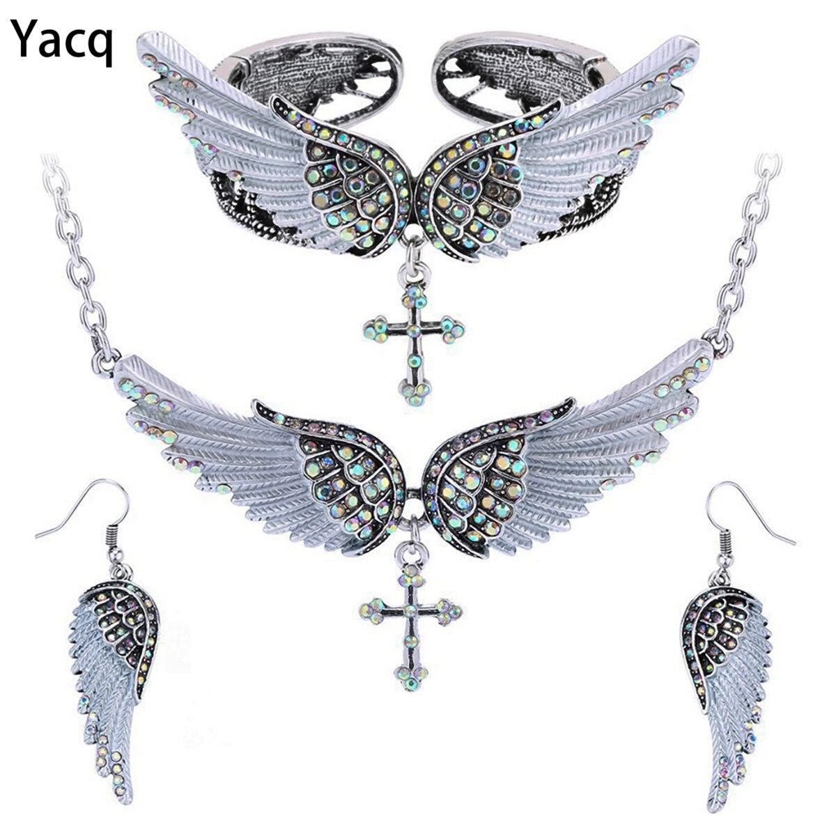 Yacq Angel Wing Cross Necklace Earrings Bracelet Set Women Biker Jewelry Birthday Gifts Her Mom Wife Girlfriend Dropshipping