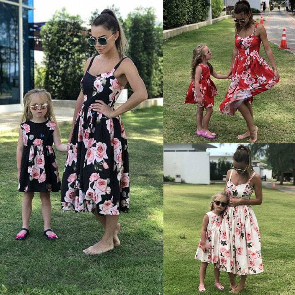 4e1135af7d Summer New Mother Daughter Matching Clothes Floral Mom Kids Parent Long  Dress Outfits Set