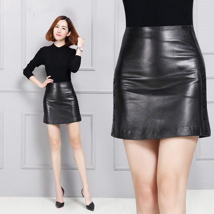 efea5e2684813 Women Plus size Genuine Leather Skirt K137-in Skirts from Women s ...