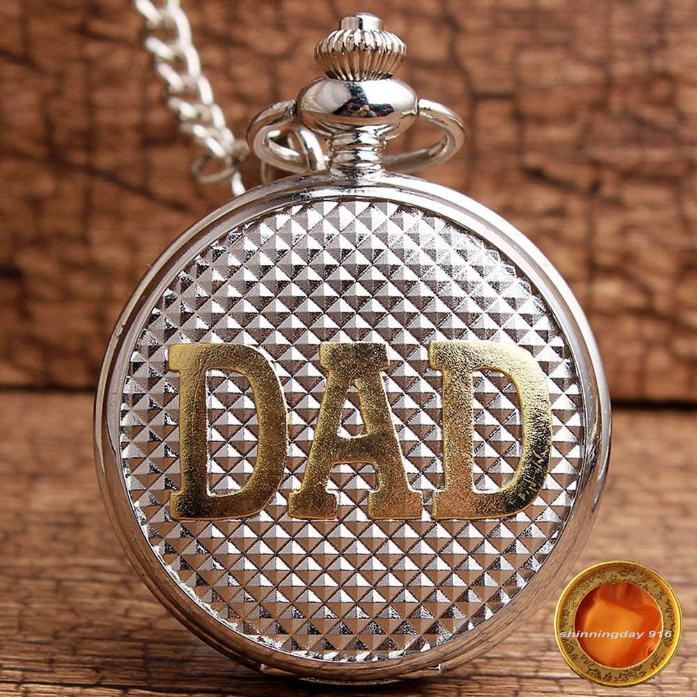 Luxury Silver Golden DAD Watch MIni Rhombus Pattern Quartz Pocket Watch Pendant Fob Chain Dad Pappy Daddy Father Christmas Gifts