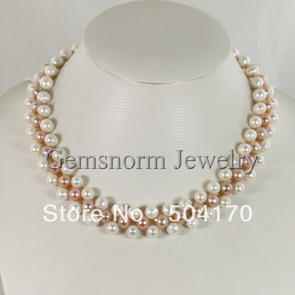 New Handmade Cultured Freshwater Pearl Necklace 8-9MM Weaved Layers Pearl Party Necklace Jewelry Free Shipping FP150 pearl