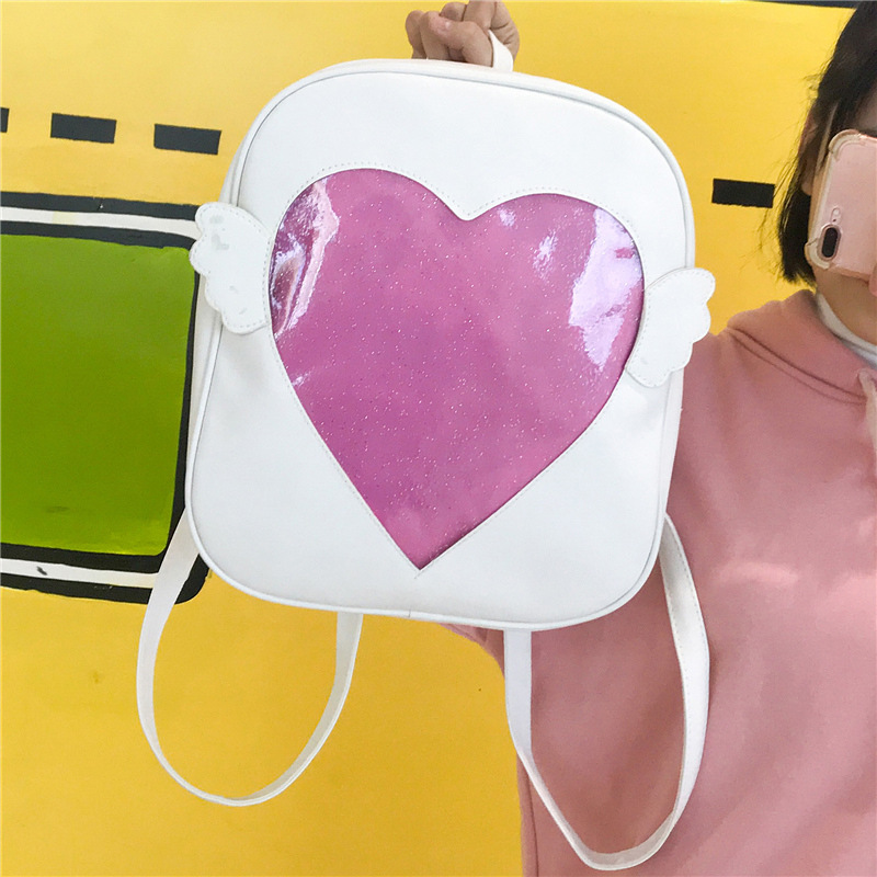 Miyahouse Itabag Preppy Style Small Cute Heart Women Backpack PU Leather Female Rucksack Wings Student Bag Lady Backpack