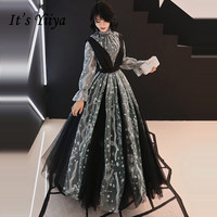 It's YiiYa Evening Dress 2019 Black Luxury Stars Embroidery Lace Fake Two Pieces Elegant Dinner Gowns LX1379 robe de soiree
