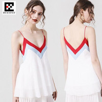 Women Girl Ice Silk Knitted Fabrics Camis Vest French Europe Branded Same Style Deep V Neck