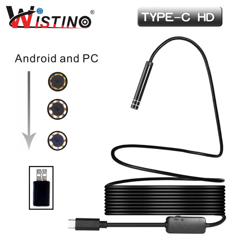 Type-c Endoscope 5.5mm Hard Cable Android USB Endoscope Mini Camera Waterproof Inspection Surveillance Snake Industrial Camera ...