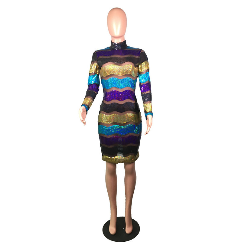 New Colorful Striped Long Sleeve Sequin Dress Women Turtleneck Mesh Sheer Boycon Mini Dress Nightclub Sexy Sparkly Party Dresses in Dresses from Women 39 s Clothing