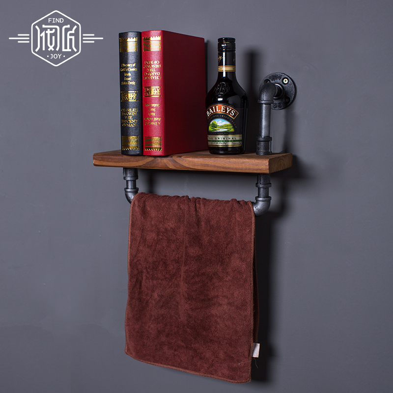 LOFT Industrial Iron Pipes Towel Racks Wood Wall Storage Holders Flower Clothing Store Cafe Bar Decorative Frame Towel Racks Z25