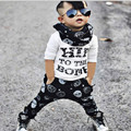 2016 INS Baby Boy Clothing Wear Cotton Letter Printed Cotton T-shirt + Skeleton Harlan Pants Two Piece Sets Kids Clothes CLS030