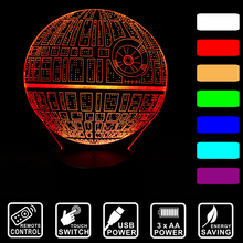 Remote/Touch Star Wars lamp Death star 3D light Night Light led Table Lamp USB 7 Color change LED Lighting for Gift IY803327-1