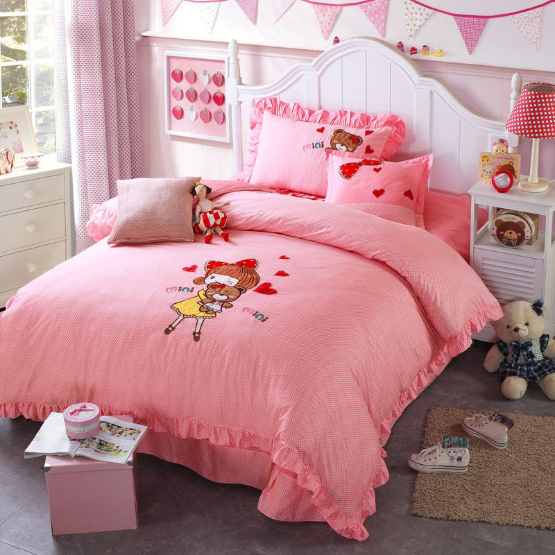 Beautiful Girls Bear Applique Embroidered Bedding Sets Twin Full Queen Size Duvet Covers Bedspreads Cotton Woven Childrens BabyBeautiful Girls Bear Applique Embroidered Bedding Sets Twin Full Queen Size Duvet Covers Bedspreads Cotton Woven Childrens Baby