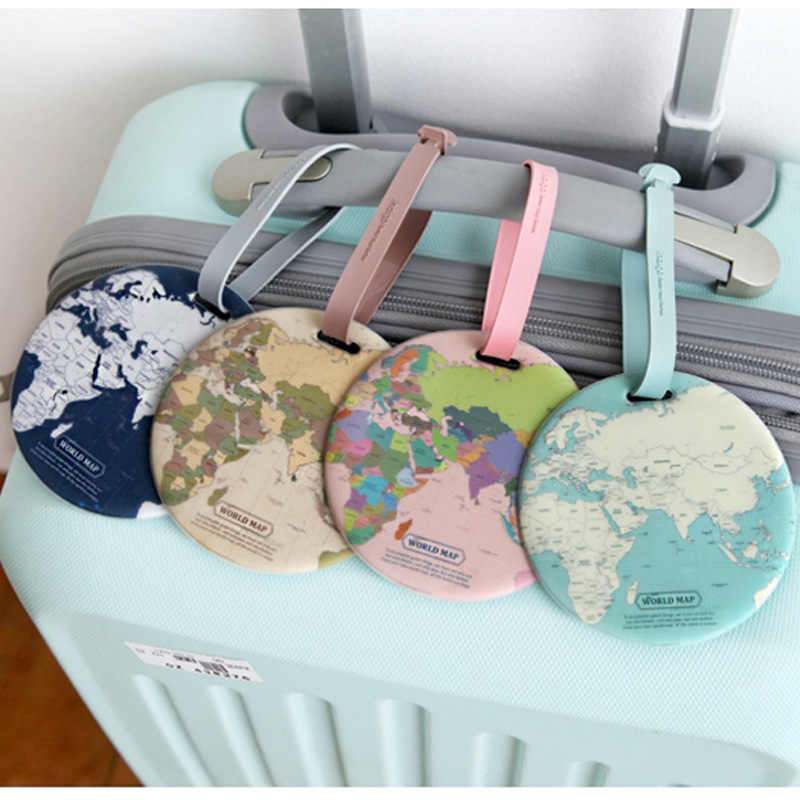 World Map Luggage Tag Women Men Travel Accessories Silica Gel Suitcase ID Address Holder Baggage Boarding Tag Portable Label