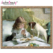 Sophie Beauty New Diamond Mosaic Diamond Embroidery Beads Baby Pray Girl Puppy Dog Cross Stitch Painting Handwork Kits Home Art(China)