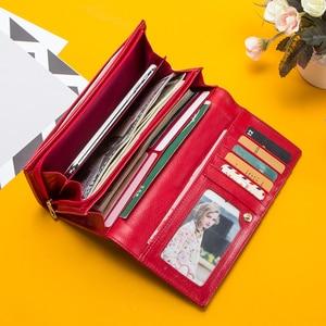 Image 5 - Contact en cuir véritable femmes portefeuille femme porte monnaie Portomonee pince pour sac dargent porte carte téléphone poche longs portefeuilles