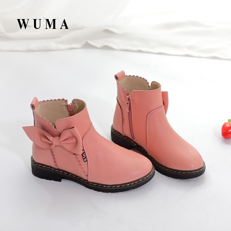WUMA 2017 Genuine Leather Spring Autumn Girls Boots Kids Shoes Brand New Handmade Children Boots Toddler Baby Girls Warm Shoes aadct spring new travel children shoes low cut casual boys running shoes real leather kids shoes for little girls brand