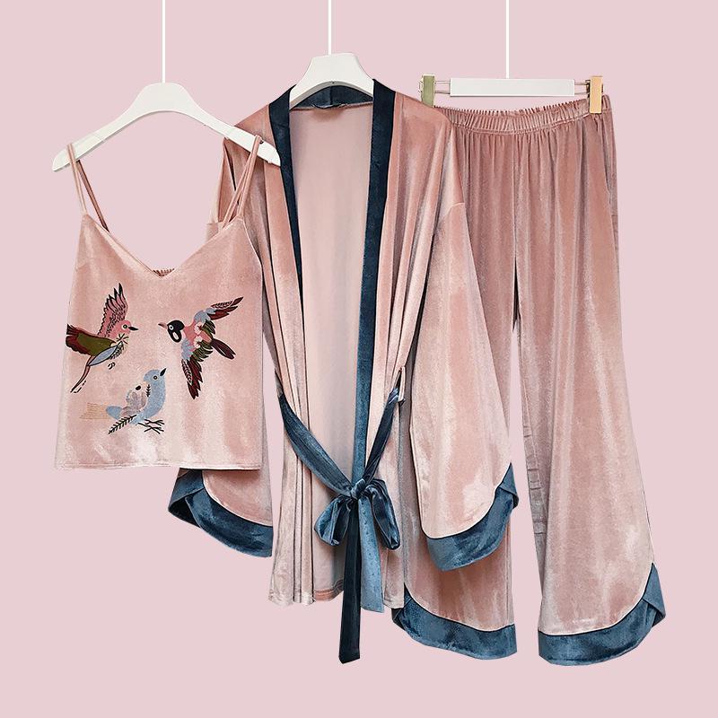 Шт. 3 шт. пижамы Женская зимняя одежда для отдыха Ночная одежда женская одежда зима 1595